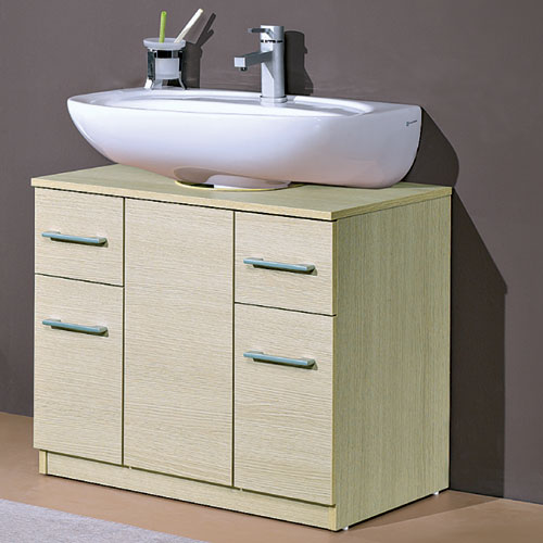 Basi Multiuso : Copricolonna 70 lavabo con cassetti rovere
