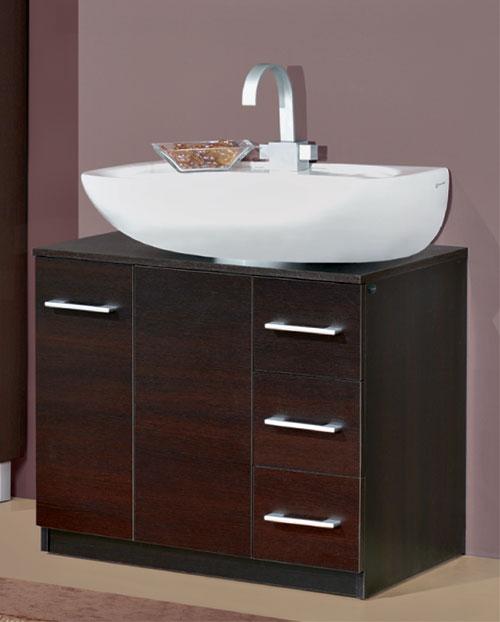 Basi Multiuso : Copricolonna 70 lavabo cassetti laterali wengé