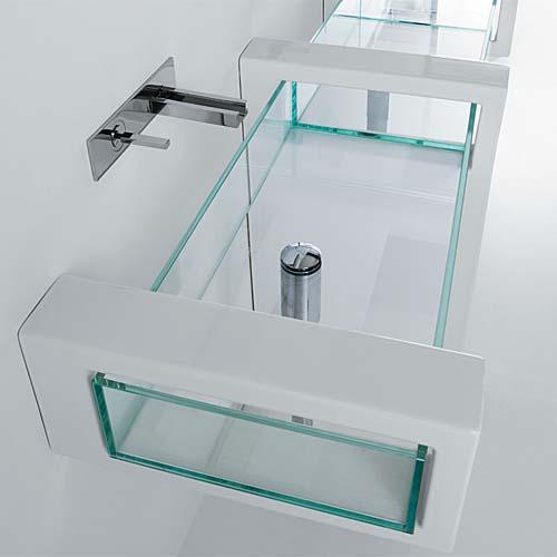 Lavabi in vetro : Lavabo Glass 80 d'appoggio o sospeso con mensole in ceramica