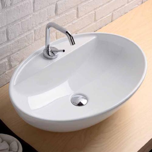 Lavabi appoggio lavabo appoggio softly 60 con foro rubinetteria ovale - Rubinetto lavandino bagno ...
