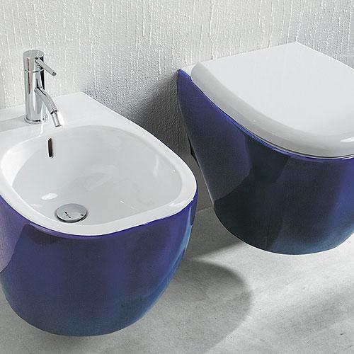 Sanitari Colorati : Sanitari bagno sospesi Weg Bicolore Blu Cobalto