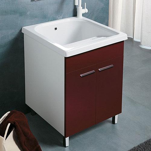 Lavatoi in ceramica mobile lavanderia con vasca ceramica 60x60 loira bordeaux - Lavatoio ceramica con mobile ...