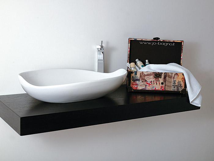Piano e mensola da appoggio per lavabo bagno jo for Mensole x bagno
