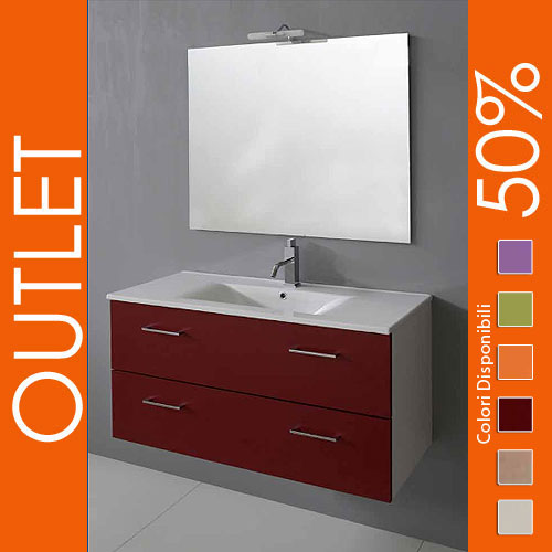 Outlet arredo bagno sospeso 100 bordeaux for Arredamento outlet