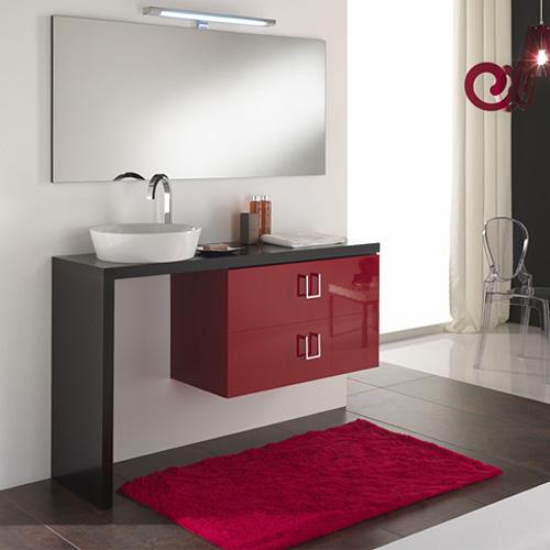 Arredo Bagno Moderno : Composizione arredo bagno moderno Clever Rosso Rubino