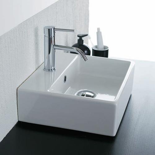 Lavabi appoggio lavabo appoggio box 50 monoforo for Lavabo appoggio bagno