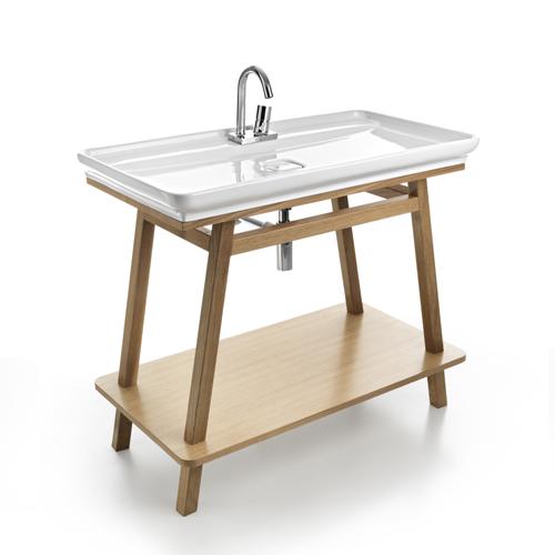 Mobili bagno : Lavabo appoggio Naked con Trapezio Rovere