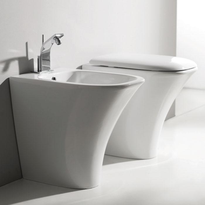 Sanitari bagno a terra pavimento wc e bidet in coppia for Sanitari bagno