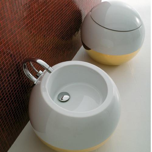 Disegno Ceramica Sfera Prezzi.Sanitari A Terra Bicolore Oro Sfera
