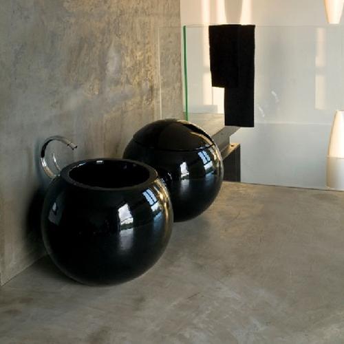 Disegno Ceramica Serie Sfera.Sanitari Colorati A Terra O56 Sfera Nero Lucido