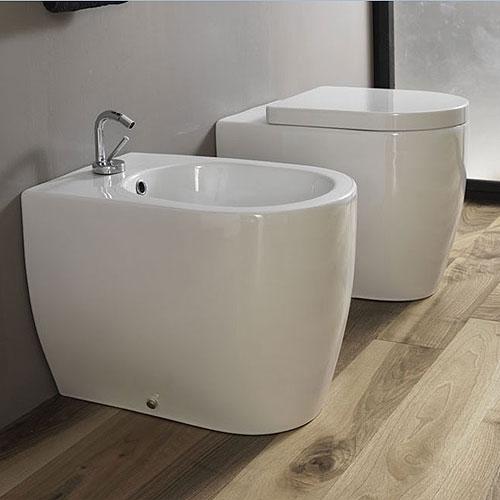 Sanitari bagno a terra pavimento wc e bidet in coppia jo bagno disegno ceramica - Sanitari bagno misure ridotte ...
