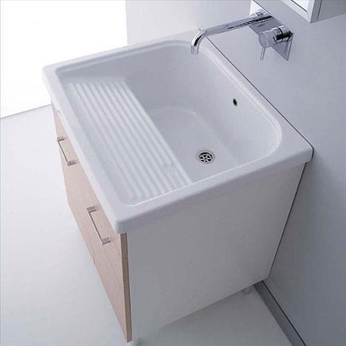 Lavatoio In Ceramica Per Lavanderia.Lavatoi In Ceramica Vasca Lavapanni Con Mobile Rodano 75x65