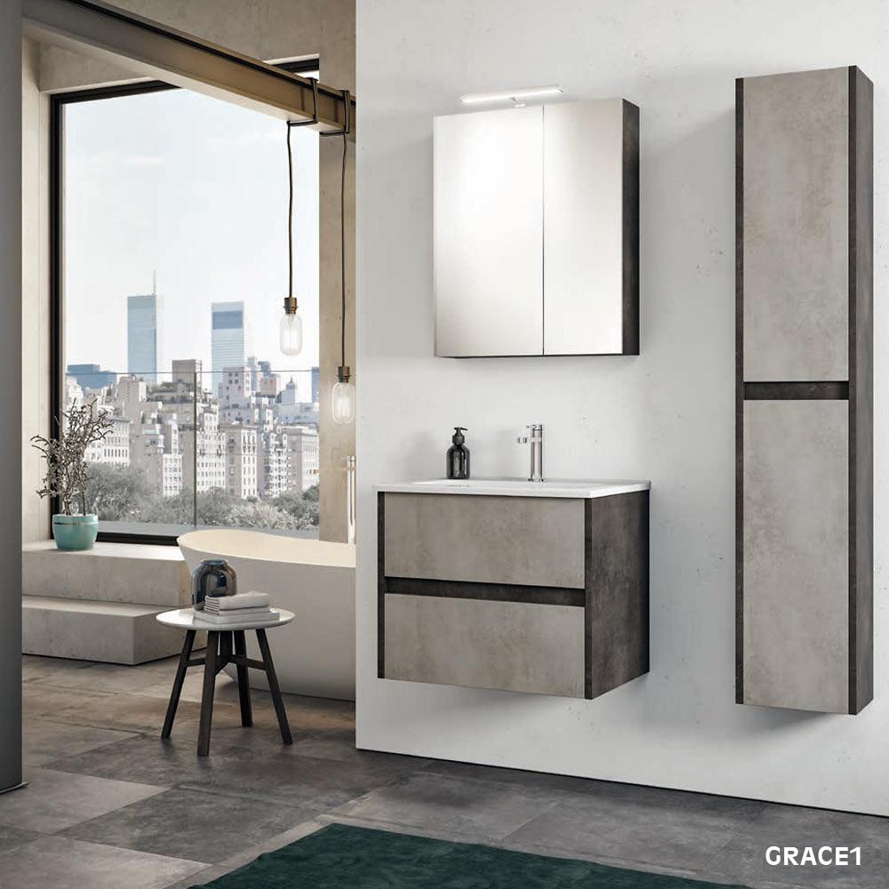 Mobile Bagno Specchio Contenitore.Mobile Bagno Sospeso Da 85 Cm Con Cassetti E Specchio Contenitore