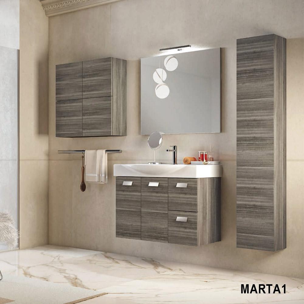 Mobile Bagno Lavandino Incasso mobile bagno sospeso da 85 cm con lavabo d'appoggio marta1