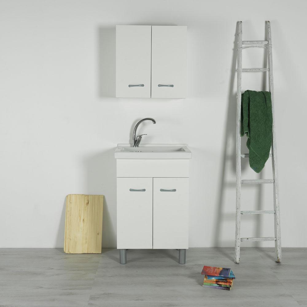 Mobile Sotto Mensola Bagno lavatoio in ceramica 60x50 reno con mobile bianco
