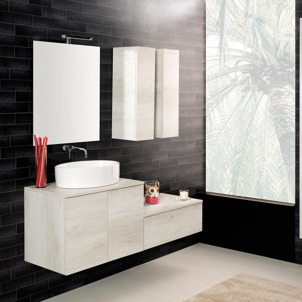 Arredo Moderno: Arredo bagno Sospeso 70 Unika con lavabo da appoggio