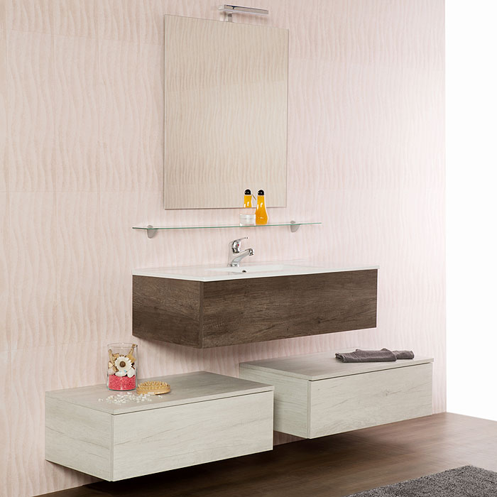 arredo bagno moderno : arredo bagno sospeso unika 100 con lavabo - Arredo Bagno Moderno Sospeso