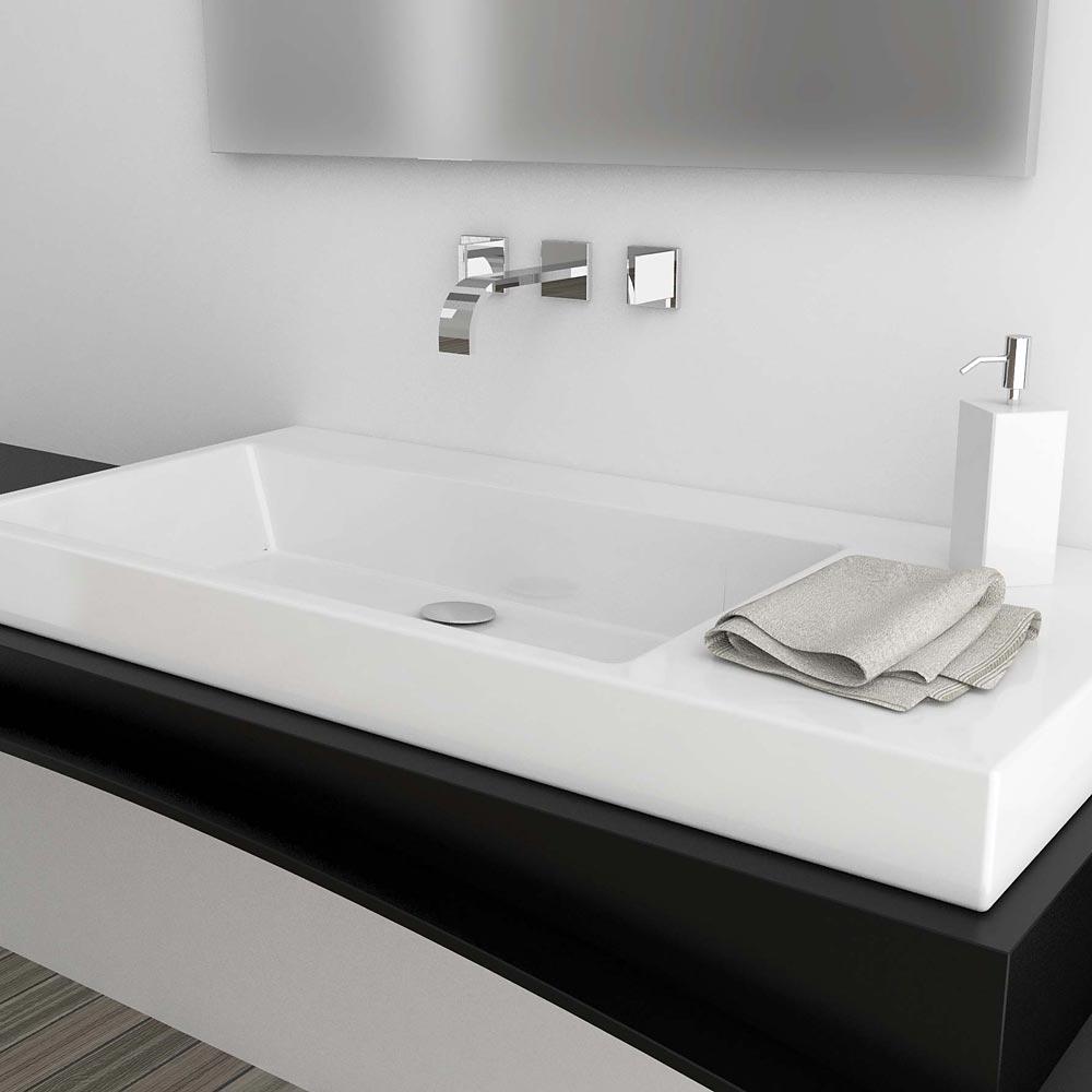 Lavello Bagno Da Appoggio lavabo da appoggio incasso o sospeso sx 100x48 in ceramica