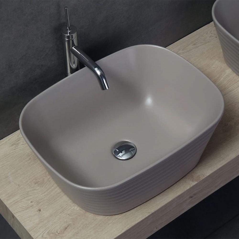 Lavello Bagno Da Appoggio lavabo da appoggio 50x38 loom tortora