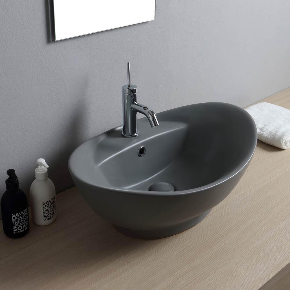 Piano Per Lavabo Da Appoggio lavabo da appoggio colorato 59x39 luna grigio opaco