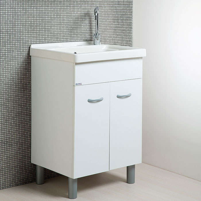Mobili Per Lavatoio Ceramica.Lavapanni In Ceramica 60x50 Con Mobile Bianco