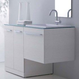 Base Portalavatrice con lavabo Zeus incluso di top in cristallo acquamarina