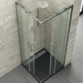 Cabina Doccia Angolare con due ante scorrevoli in cristallo temperato 8 mm Ix-Box Shower