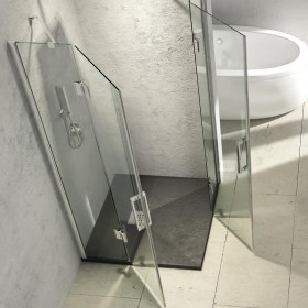 Cabina Doccia Angolare con due ante battenti in cristallo temperato 8 mm Ix-Box Shower