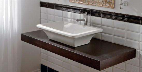 Piano e mensola da appoggio per lavabo bagno jo - Top legno massello bagno ...