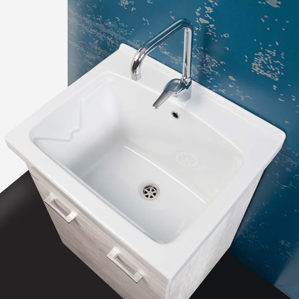 Lavatoio 60x50 unika con vasca in ceramica per lavanderia - Vasca da bagno ceramica ...