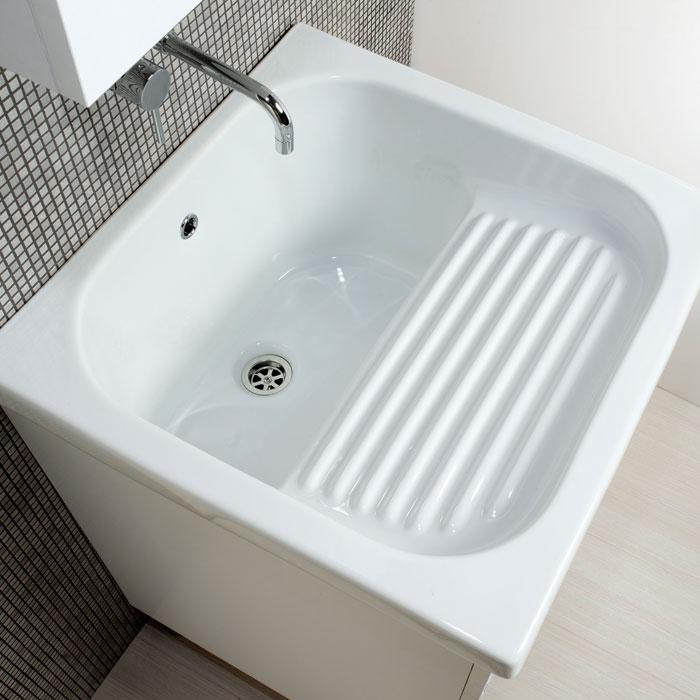 Lavatoi in ceramica : Lavapanni in ceramica 60x50 con mobile bianco