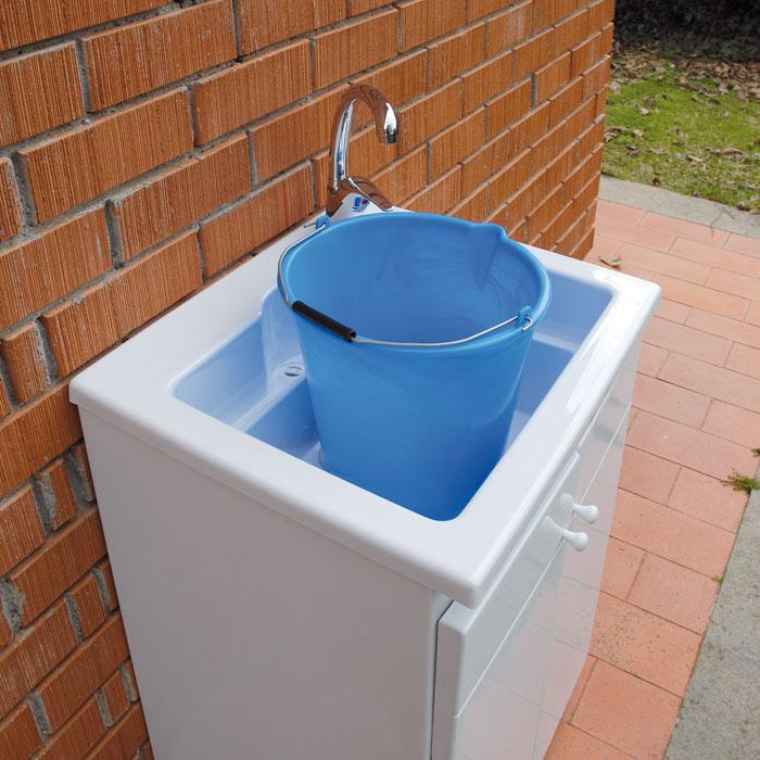 Lavatoi per esterno lavatoio in acrilico e mobile 60x50 lemon - Mobile con lavatoio per esterno ...